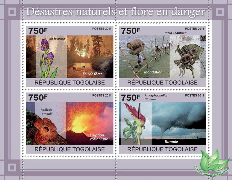 Natural Disasters & Endangered Flora. - Issue of Togo postage stamps
