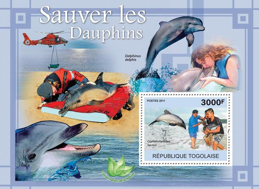 Save The Dolphins. - Issue of Togo postage stamps