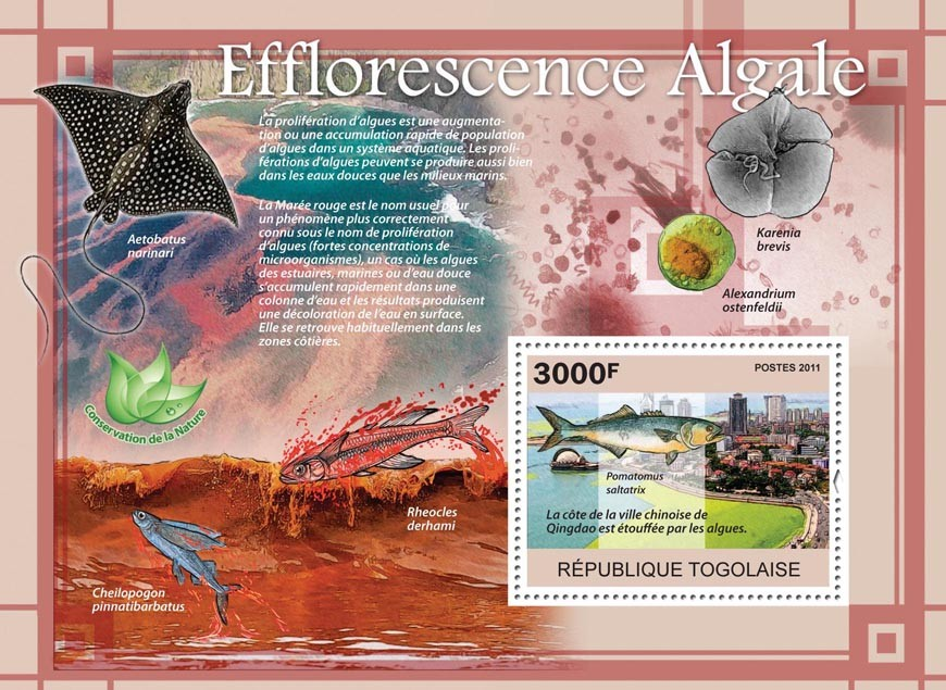 Algal Blooms, Fishes. - Issue of Togo postage stamps