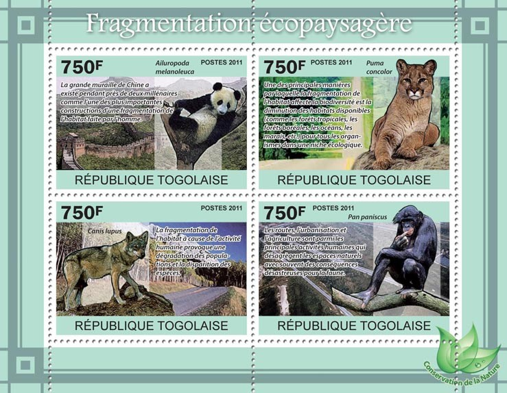 Habitat Fragmentation, Animals. - Issue of Togo postage stamps