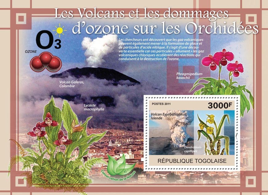 Volcanoes & Ozone Damages on Orchids, Flowers. - Issue of Togo postage stamps