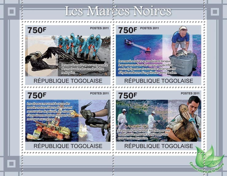 Oil Spills, Animals & Birds. - Issue of Togo postage stamps