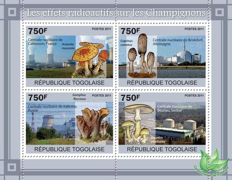 The Radioactive Effects on Mushrooms. - Issue of Togo postage stamps