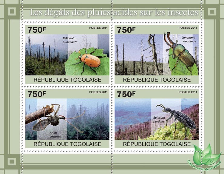 The Damage of Acid Rain on Insects. - Issue of Togo postage stamps