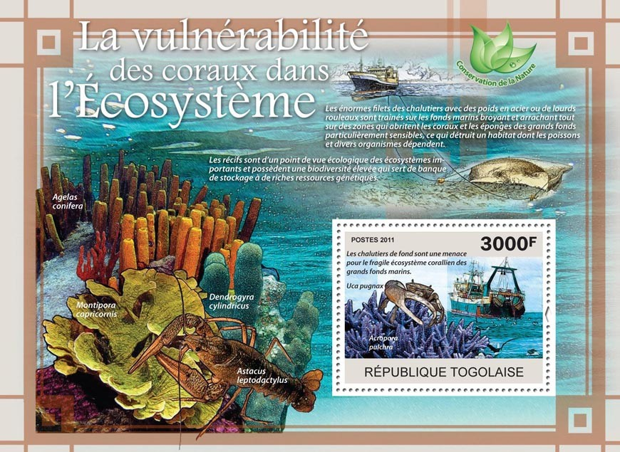 The Vulnerability of Corals in the Ecosystem, Ships. - Issue of Togo postage stamps
