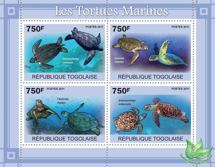 Sea Turtles. - Issue of Togo postage stamps