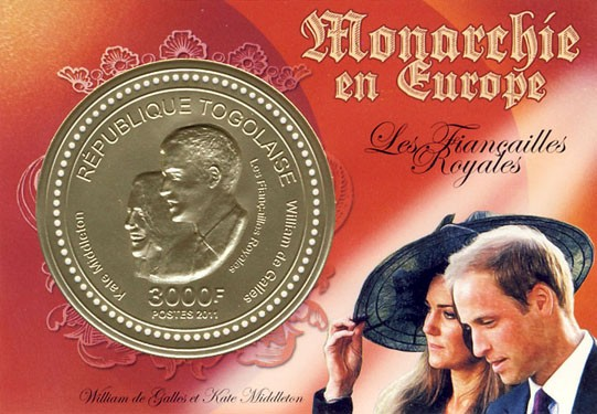 Royal Engagement, Prince William of Wales & Kate Middleton  ( 3D - gold foil ). - Issue of Togo postage stamps