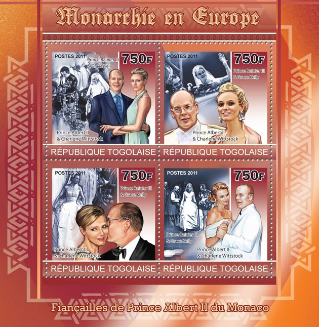 Monarchies in Europe II,  ( Prince Rainier III & Grace Kelly, Prince Albert II & Charlene Wittstock ). - Issue of Togo postage stamps