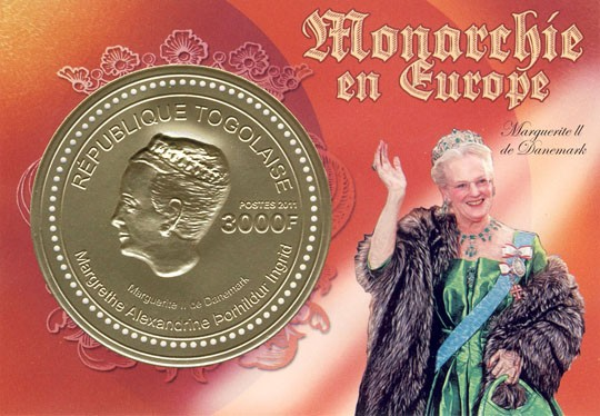 Margrethe II of Denmark, (3D - gold foil). - Issue of Togo postage stamps