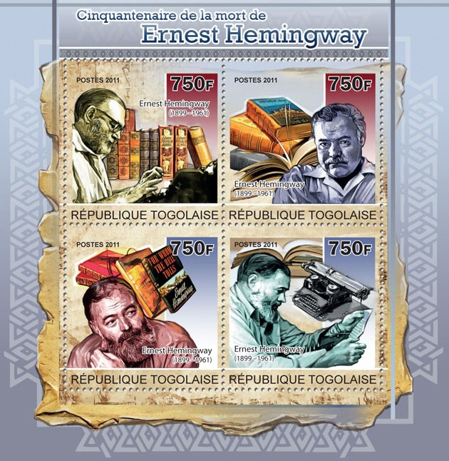 Fiftieth Anniversary of death of Ernest Hemingway - Issue of Togo postage stamps