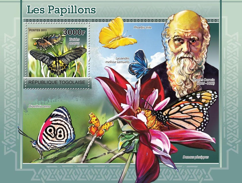 Butterflies, Charles Darwin (1809-1882) - Issue of Togo postage stamps