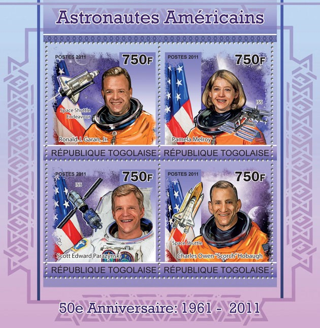 50th Anniversary of Astronauts of America,  (Ronald J.Garan, Jr., P.Melroy, S.E.Parazynski, C.Owen). - Issue of Togo postage stamps