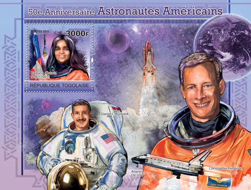 50th Anniversary of Astronauts of America,  Kalpana Chawla - Issue of Togo postage stamps