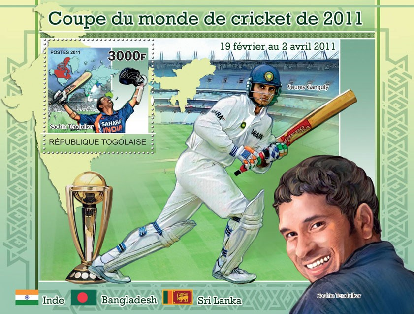 Cricket World Cup 2011. - Issue of Togo postage stamps
