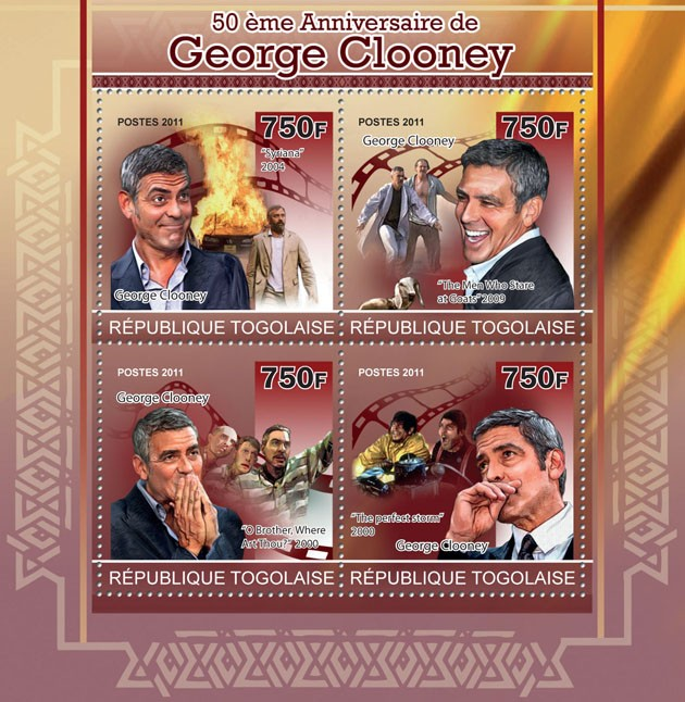 50th Anniversary of George Clooney. - Issue of Togo postage stamps