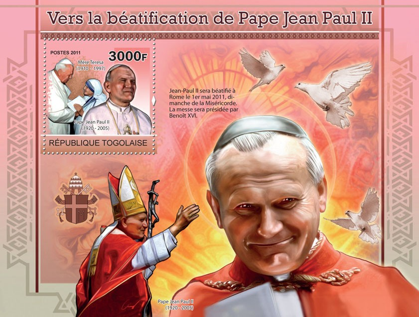 Towards the Beatification of Pope John Paul II - Issue of Togo postage stamps