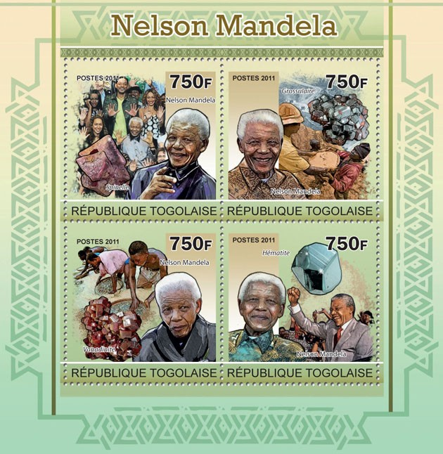 Nelson Mandela, (Minerals). - Issue of Togo postage stamps