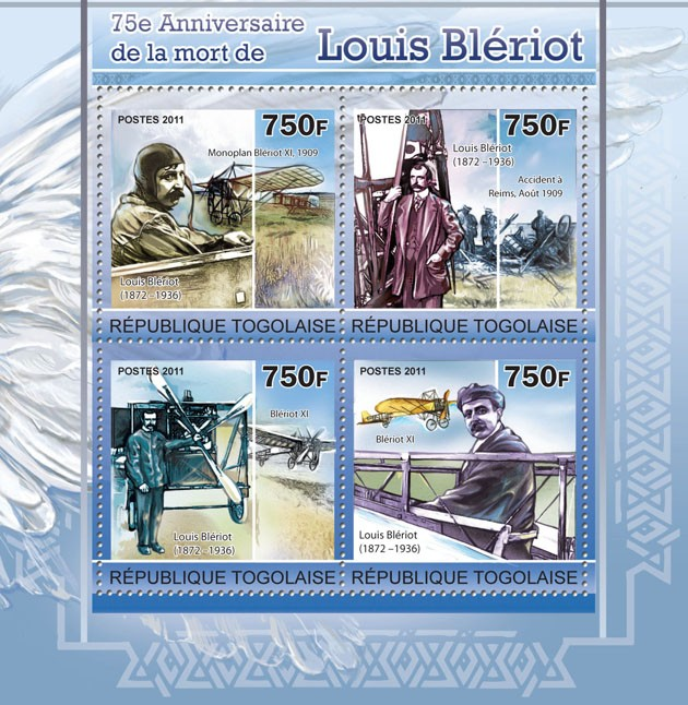 75th Anniversary of death of Louis Bleriot - Issue of Togo postage stamps