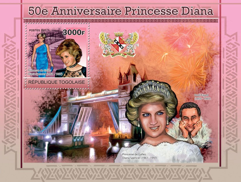 50th Anniversary of Princess Diana - Issue of Togo postage stamps