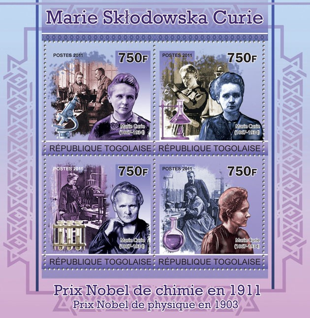 Marie Sklodowska Curie - Issue of Togo postage stamps