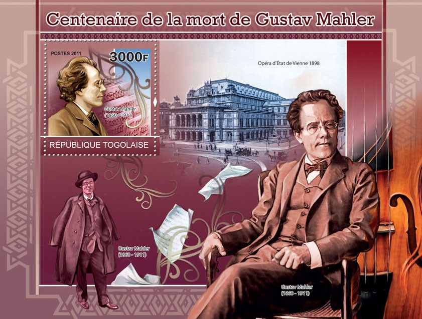 Centenary of the death of Gustav Mahler - Issue of Togo postage stamps