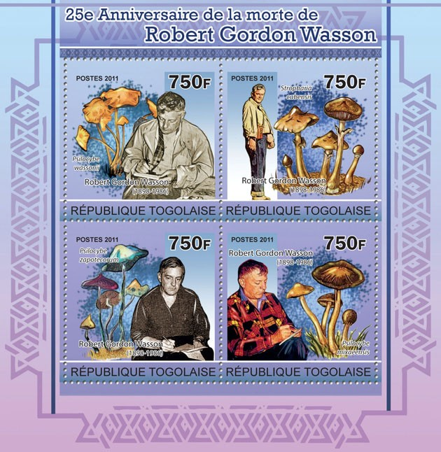 25th Anniversary of the death of Robert Gordon Wasson - Issue of Togo postage stamps