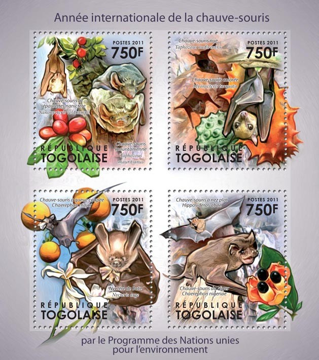 International Year of the Bats. - Issue of Togo postage stamps