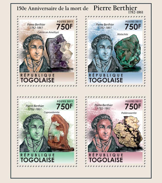 50th Anniversary of the death of Pierre Berthier (1782-1861), Minerals. - Issue of Togo postage stamps