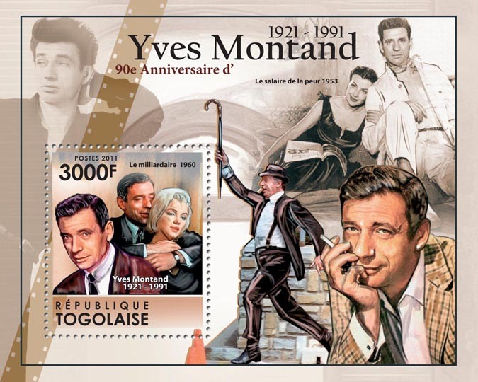 90th Anniversary of Yves Montand (1921-1991), French Cinema. - Issue of Togo postage stamps