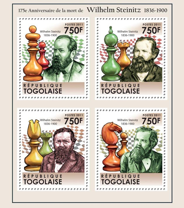175th Anniversary of the death of Wilhelm Steinitz (1836-1900), Chess. - Issue of Togo postage stamps