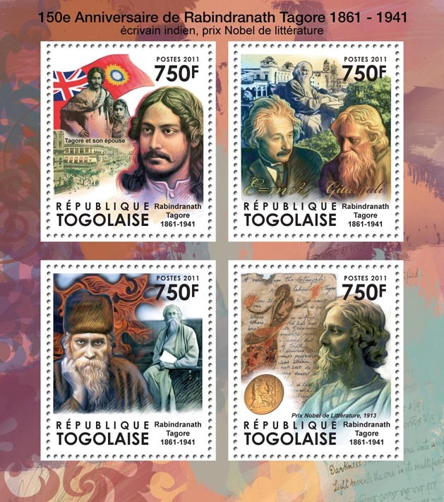 150th Anniversary of Rabindranath Tagore (1861-1941), Literature. - Issue of Togo postage stamps