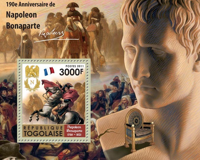190th Anniversary of Napoleon Bonaparte (1760-1821). - Issue of Togo postage stamps