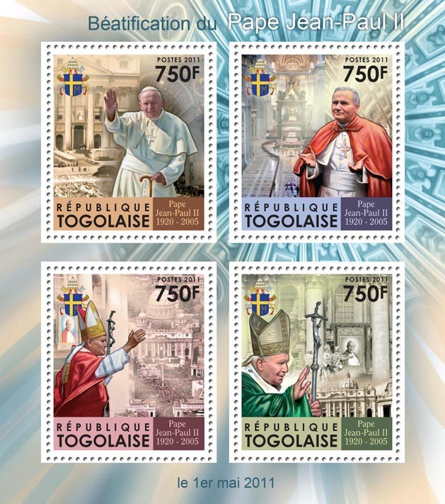 Beatification of Pope John Paul II. - Issue of Togo postage stamps