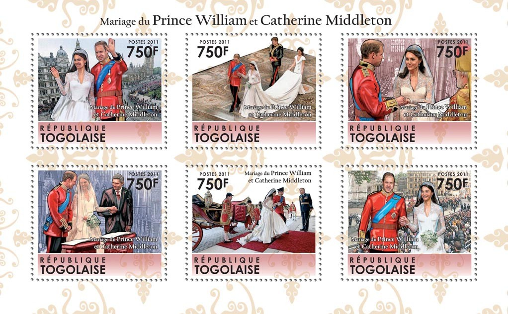 Royal Wedding, Prince William & Kate Middleton. - Issue of Togo postage stamps