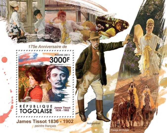 175th Anniversary of James Tissot (1836-1902) - Issue of Togo postage stamps