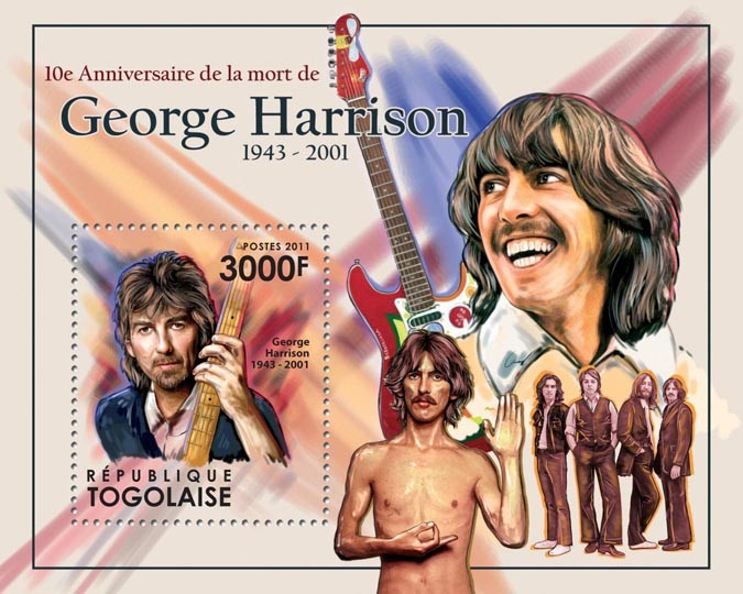 10th Anniversary of the death of George Harrison (1943-2001) - Issue of Togo postage stamps
