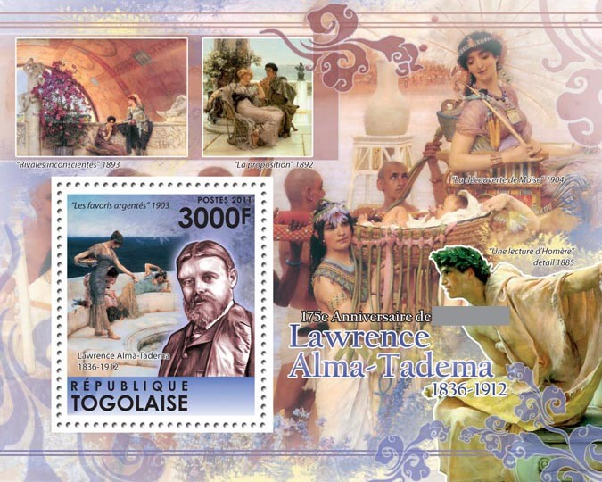175th Anniversary of Lawrence Alma-Tadema (1836-1912) - Issue of Togo postage stamps