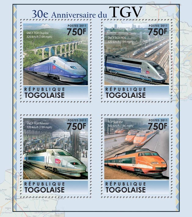 30th Anniversary of the TGV - Issue of Togo postage stamps