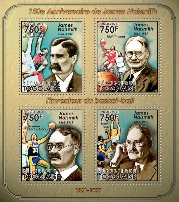 150th Anniversary of James Naismith (1861-1939) - Issue of Togo postage stamps