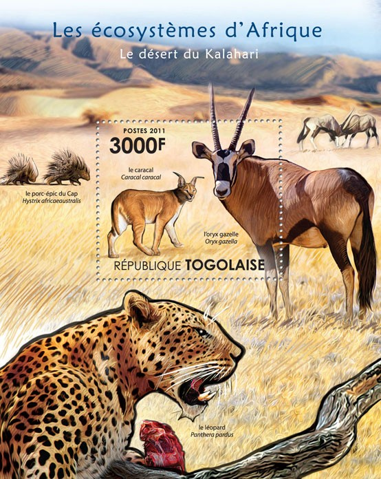 Fauna of the Kalahari Desert. - Issue of Togo postage stamps