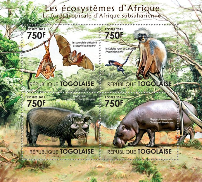 Fauna of the Tropical Forest of Sub-Sahara. - Issue of Togo postage stamps