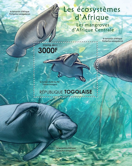 Fauna of Mangroves Forests of Central Africa. - Issue of Togo postage stamps
