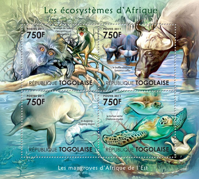 Fauna of Mangroves Forests of East Africa. - Issue of Togo postage stamps