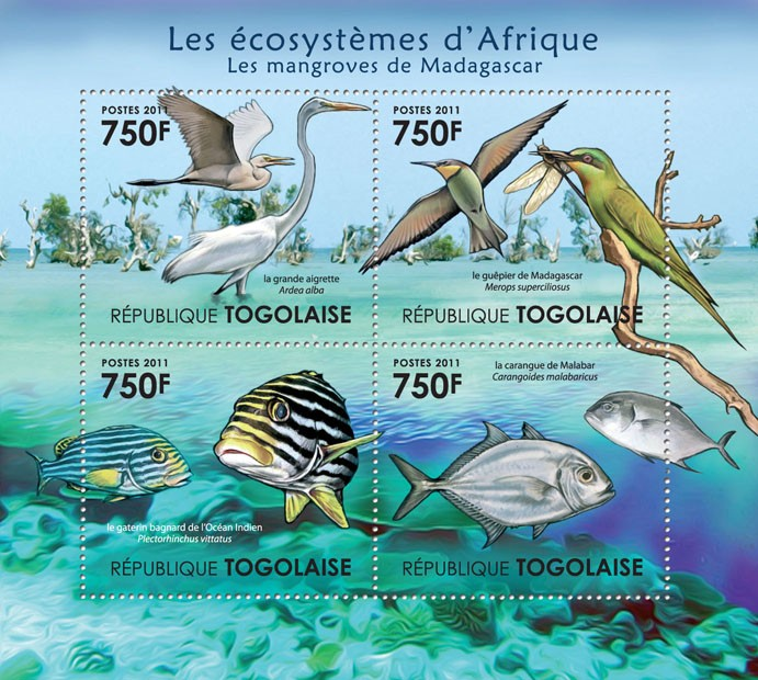 Fauna of Mangroves Forests of Madagascar. - Issue of Togo postage stamps