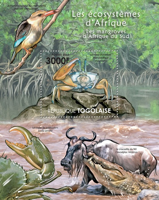 Fauna of Mangroves Forests of South Africa. - Issue of Togo postage stamps