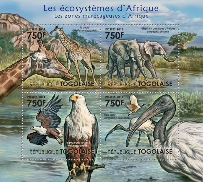 Fauna of Swampy Areas of Africa. - Issue of Togo postage stamps