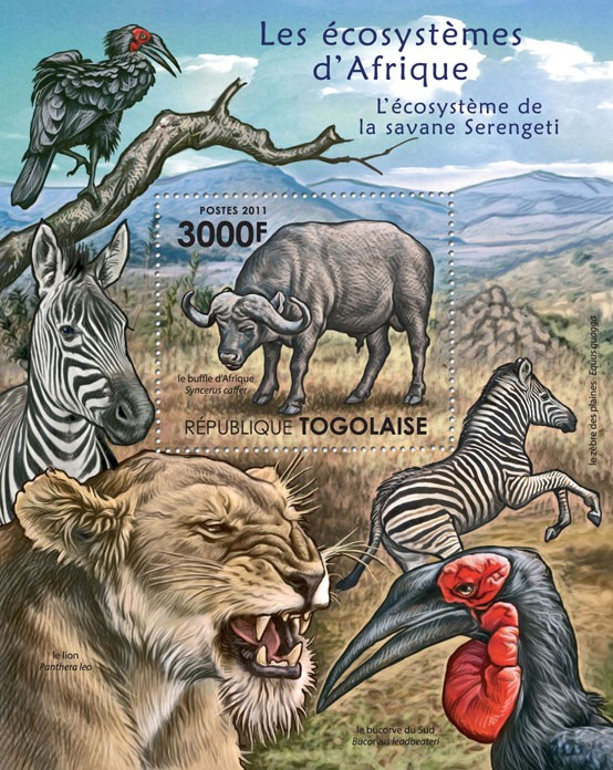 The Serengeti Savanna Ecosystem. - Issue of Togo postage stamps