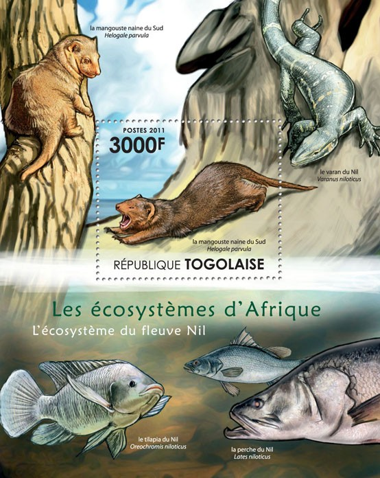 Ecosystem of River Nil. - Issue of Togo postage stamps