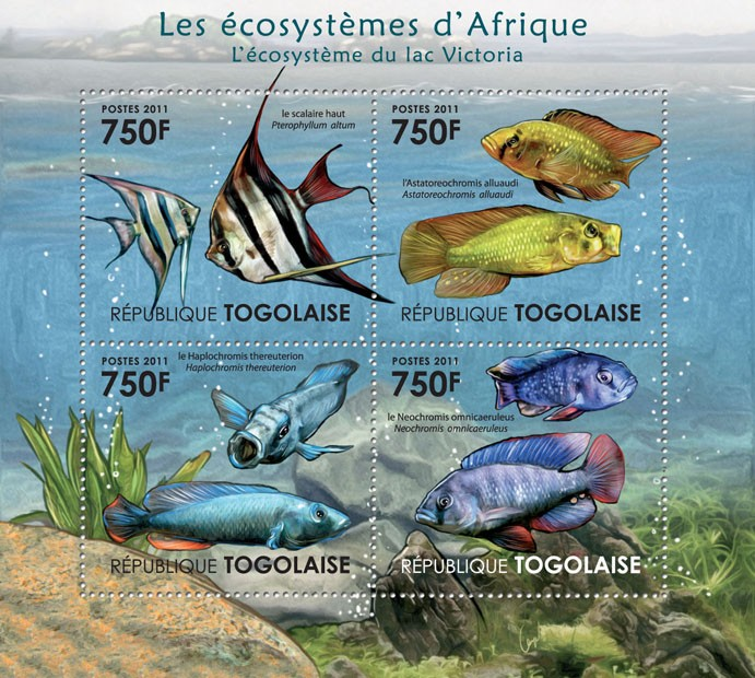 Ecosystem of Victoria Lake. - Issue of Togo postage stamps