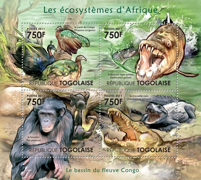 The Congo River Basin. - Issue of Togo postage stamps